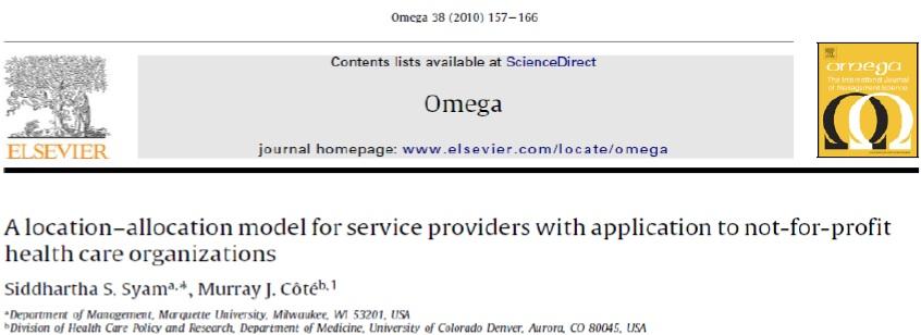 مقاله ترجمه شده مدل مکانیابی و تخصیص برای ارائه دهندگان خدمات با قابلیت کاربرد در سازمان غیرانتفاعی بهداشت و درمان